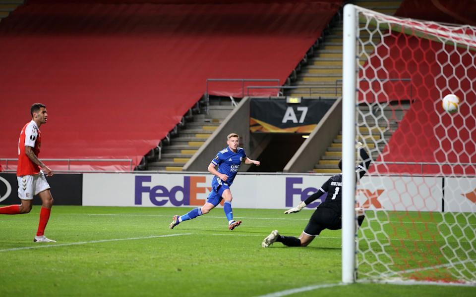 Harvey Barnes of Leicester City scores to make it 1-1 - Plumb Images/Leicester City FC via Getty Images