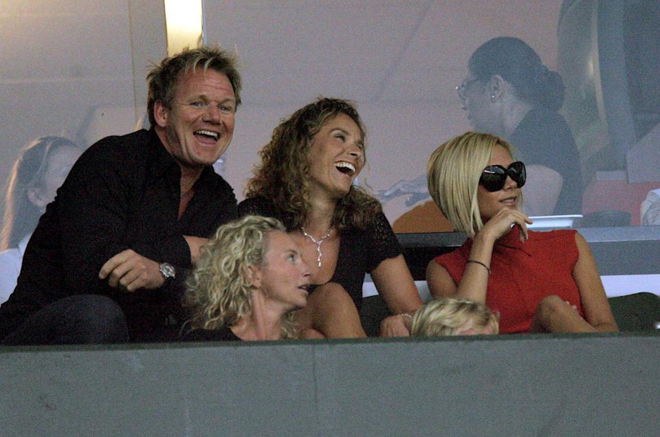 CARSON, CA - AUGUST 23: Chef Gordon Ramsay (L) and his wife Tana attend the LA Galaxy vs Chivas USA match with Victoria Beckham and friends August 23 2007, at the Home Depot Center in Carson, California.  (Photo by Toby Canham/Getty Images)