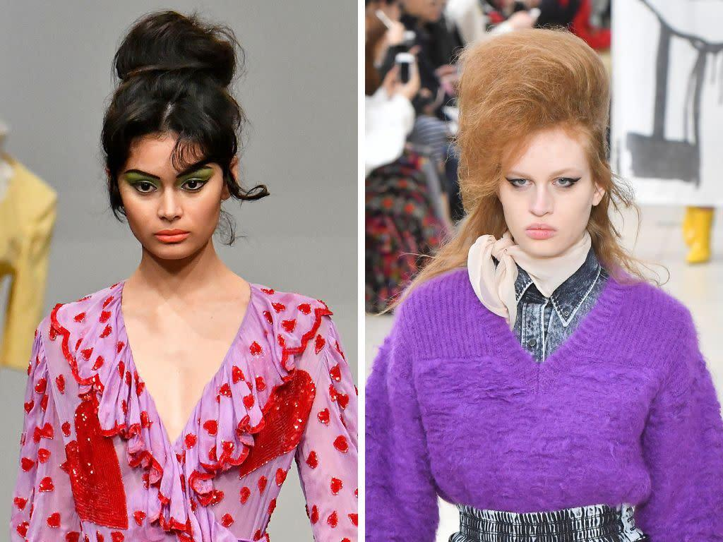 Fall 2018's big bouffant isn't for the faint of heart, but if you like making a statement with your hair, it's perfect. The vintage-inspired &rsquo;do took on new heights at Ashish and Miu Miu, and we're here for it.&nbsp;<br><br><i>(Left to right: Ashish, Miu Miu)</i>