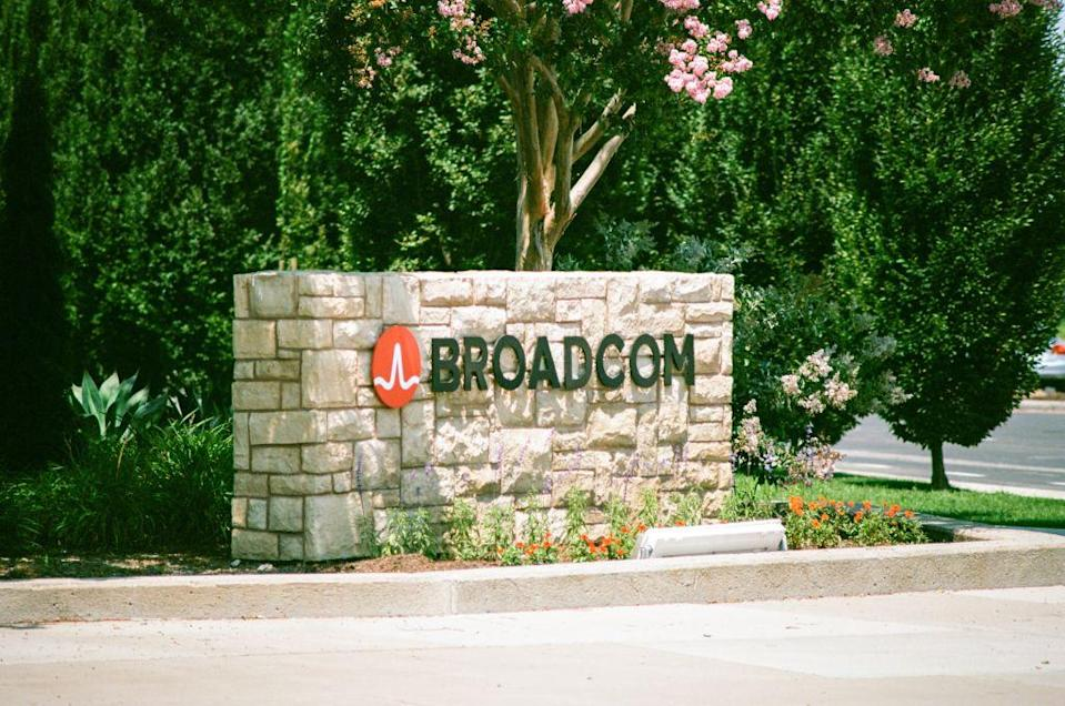Signage with logo at the Silicon Valley headquarters of semiconductor company Broadcom, Santa Clara, California, August 17, 2017. (Photo via Smith Collection/Gado/Getty Images)