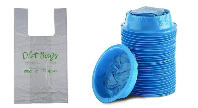 plastic shopping bag and blue plastic emesis bags