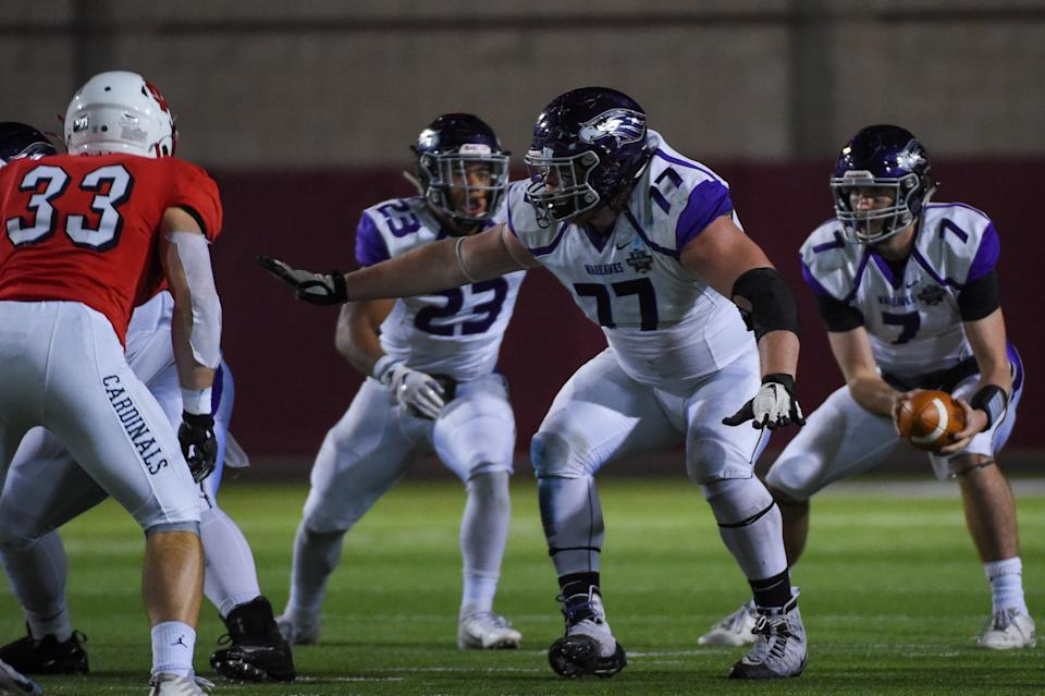 UW-Whitewater Warhawks offensive lineman Quinn Meinerz (77) is one of the best small-school prospects at the Senior Bowl. (Photo by Ken Murray/Icon Sportswire via Getty Images)