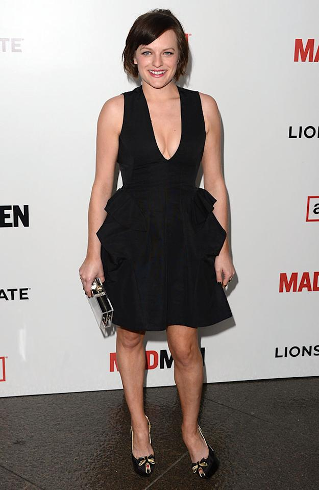 """Elisabeth Moss arrives at the Premiere of AMC's """"Mad Men"""" Season 6 at DGA Theater on March 20, 2013 in Los Angeles, California."""