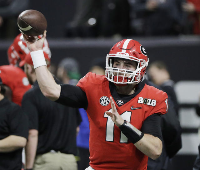 Georgia quarterback Jake Fromm warms up before the NCAA college football playoff championship game against Alabama Monday, Jan. 8, 2018, in Atlanta. (AP Photo/David J. Phillip)
