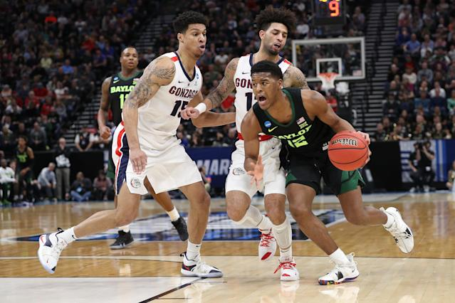 <p>Jared Butler #12 of the Baylor Bears drives with the ball against the Gonzaga Bulldogs during their game in the Second Round of the NCAA Basketball Tournament at Vivint Smart Home Arena on March 23, 2019 in Salt Lake City, Utah. (Photo by Patrick Smith/Getty Images) </p>
