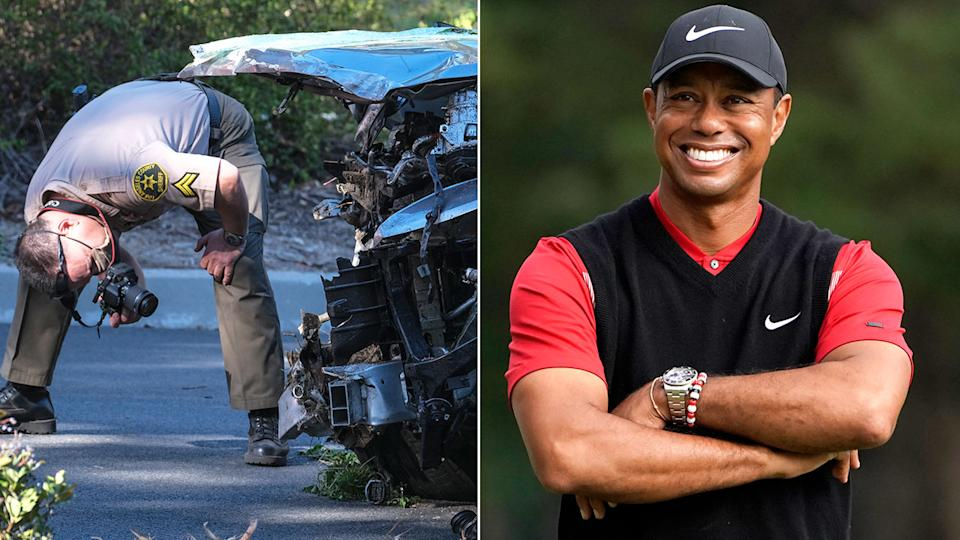 A man is seen here investigating the site of the Tiger Woods car crash.