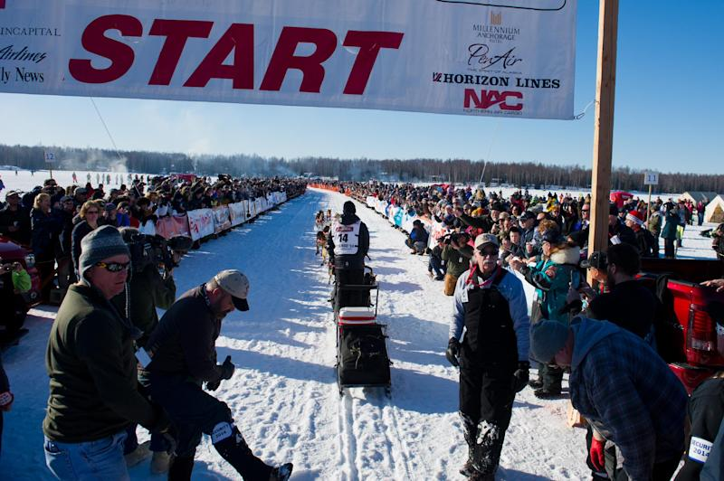Dallas Seavey leaves the start line before the start of the Iditarod Trail Sled Dog Race on Willow Lake, Sunday, March 2, 2014, in Willow, Alaska. The race will take mushers nearly a thousand miles to the finish line in Nome, on Alaska's western coast. (AP Photo/Anchorage Daily News, Marc Lester)