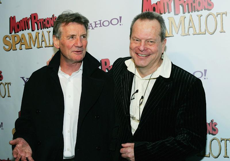 NEW YORK - MARCH 17: (U.S. TABS AND HOLLYWOOD REPORTER OUT) Monty Python members Michael Palin and Terry Gilliam attend the opening night after party for 'Monty Python's Spamalot' at Roseland Ballroom March 17, 2005 in New York City. (Photo by Evan Agostini/Getty Images)