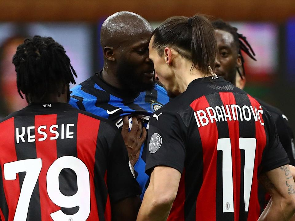 <p>Zlatan Ibrahimovic and Romelu Lukaku were booked after a heated exchange</p> (Getty Images)