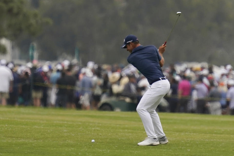 Guido Migliozzi, of Italy, hits from the 18th fairway during the final round of the U.S. Open Golf Championship, Sunday, June 20, 2021, at Torrey Pines Golf Course in San Diego. (AP Photo/Gregory Bull)