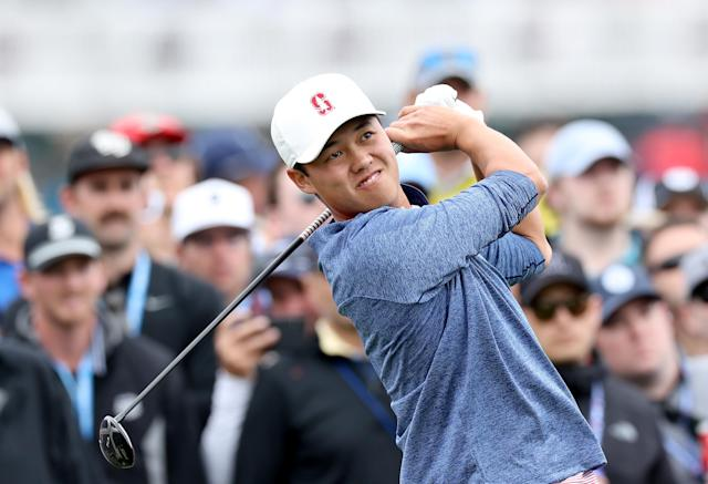 Brandon Wu had to miss his graduation ceremony at Stanford to play in the U.S. Open on Sunday. So, the USGA brought the ceremony to Pebble Beach. (David Cannon/Getty Images)