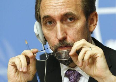 Jordan's Prince Zeid al-Hussein High Commissioner for Human Rights attends news conference at UN in Geneva