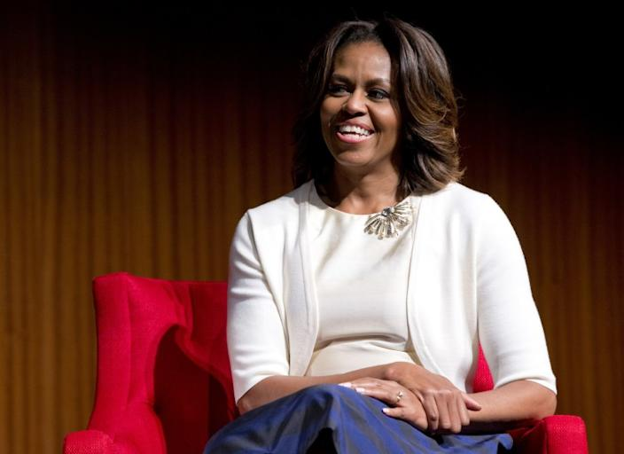 """Former First Lady Michelle Obama will launch an exclusive podcast on Spotify discussing relationships that shape our lives. <span class=""""copyright"""">(Carolyn Kaster / Associated Press)</span>"""