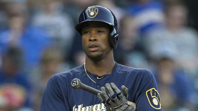 The Brewers center fielder was drilled by Rockies pitcher Antonio Senzatela's 93 mph fastball in the second inning.