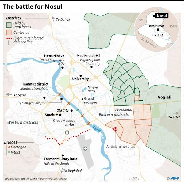 Map of Mosul showing the advance of Iraqi government troops in the Jihadist-held city