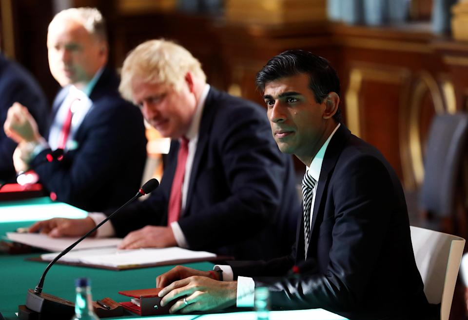 Britain's chancellor of the exchequer Rishi Sunak, right, during a cabinet meeting. Photo: Photo by Simon Dawson/Pool/AFP via Getty Images