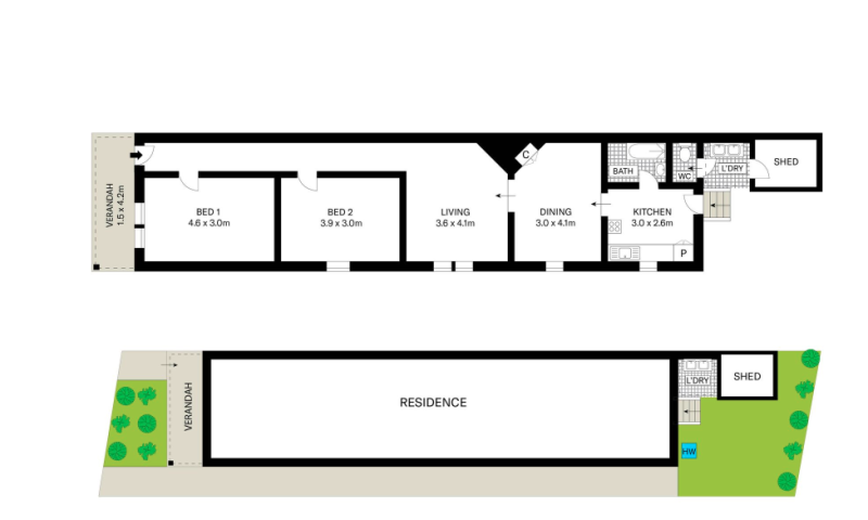 Pictured is the floor plan of the two-bedroom home.