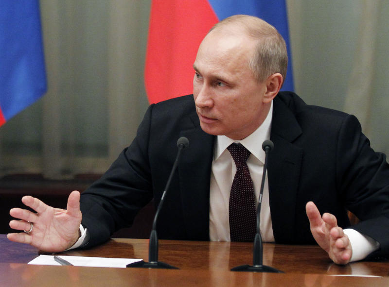 Russian President Vladimir Putin speaks at the final Cabinet  meeting of the year in the government headquarters in Moscow, Thursday, Dec. 27, 2012. (AP Photo/RIA-Novosti, Dmitry Astakhov, Government Press Service)