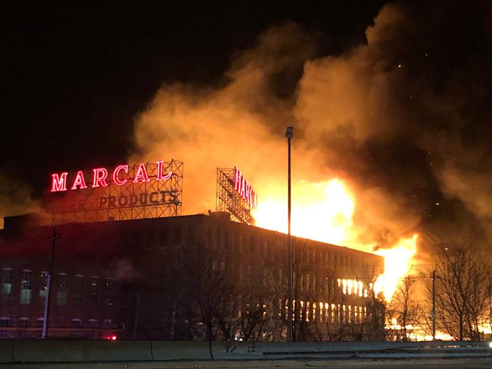 A fire burns at Marcal Paper on Jan. 30, 2019.