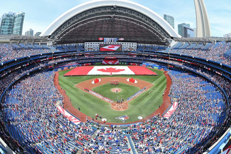 Jul 1, 2019; Toronto, Ontario, CAN; Canada Day celebrations prior to Toronto Blue Jays game against the Kansas City Royals at Rogers Centre. Mandatory Credit: Gerry Angus-USA TODAY Sports