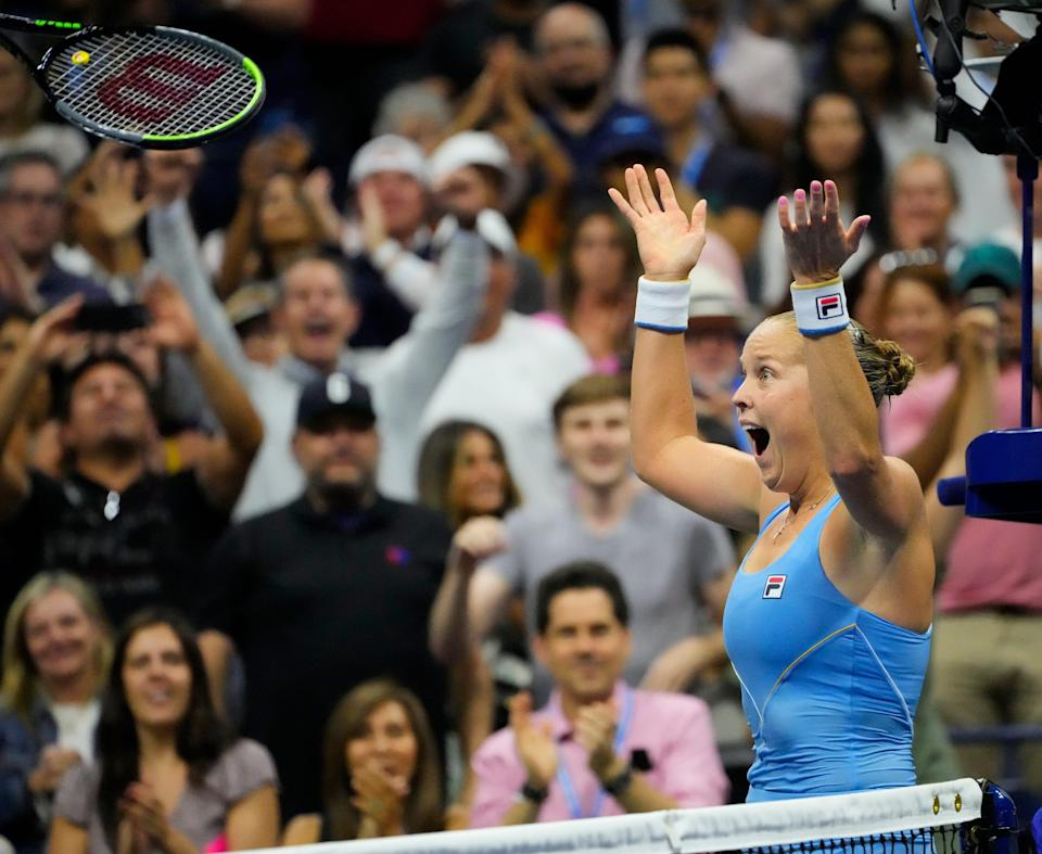 Sep 4, 2021; Flushing, NY, USA;   Shelby Rogers reacts, along with the spectators, after being No. 1-seeded Ash Barty at the U.S. Open.
