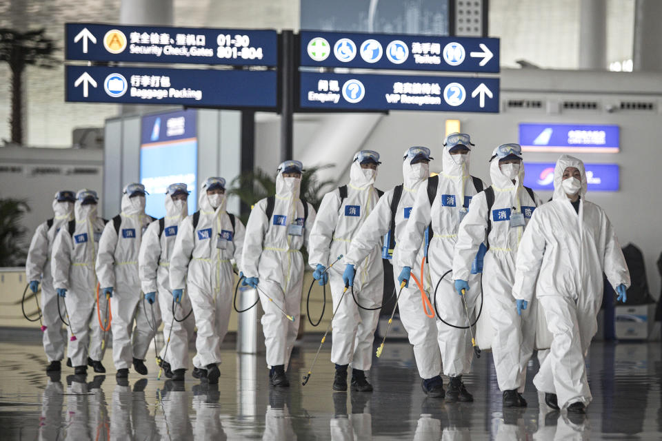 WUHAN, CHINA - April 3: Firefighters prepare to conduct disinfection at the Wuhan Tianhe International Airport. Wuhan, the Chinese city hardest hit by the novel coronavirus outbreak, will lift its travel restrictions on April 8. (Photo by Getty Images)