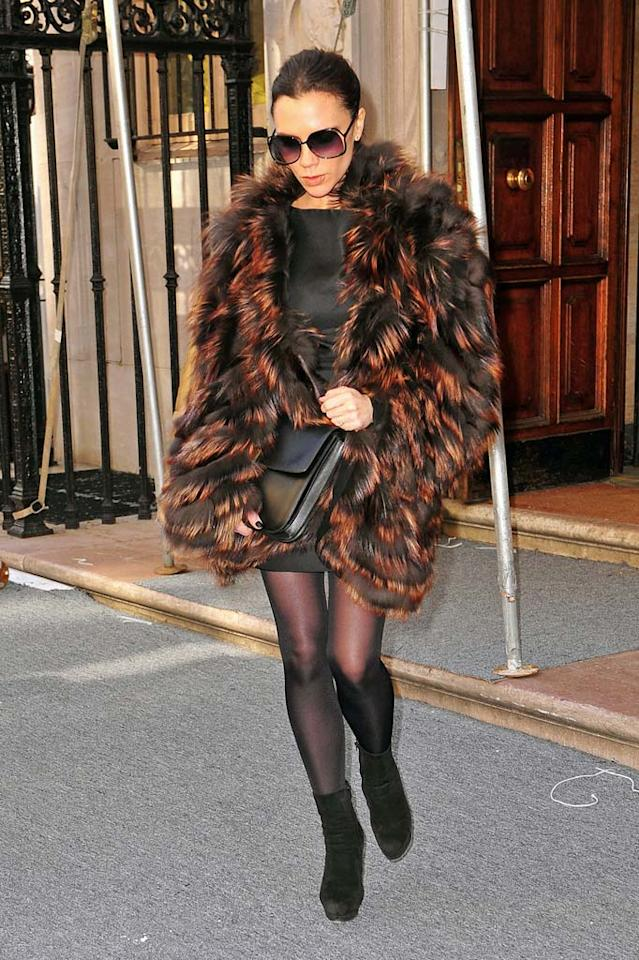 "Speaking of fur coat catastrophes ... check out the multi-colored mess mom-to-be Victoria Beckham was seen sporting while out and about in the Big Apple. Fake or not, it's still frightening. <a href=""http://www.pacificcoastnews.com/"" target=""new"">PacificCoastNews.com</a> - February 13, 2011"