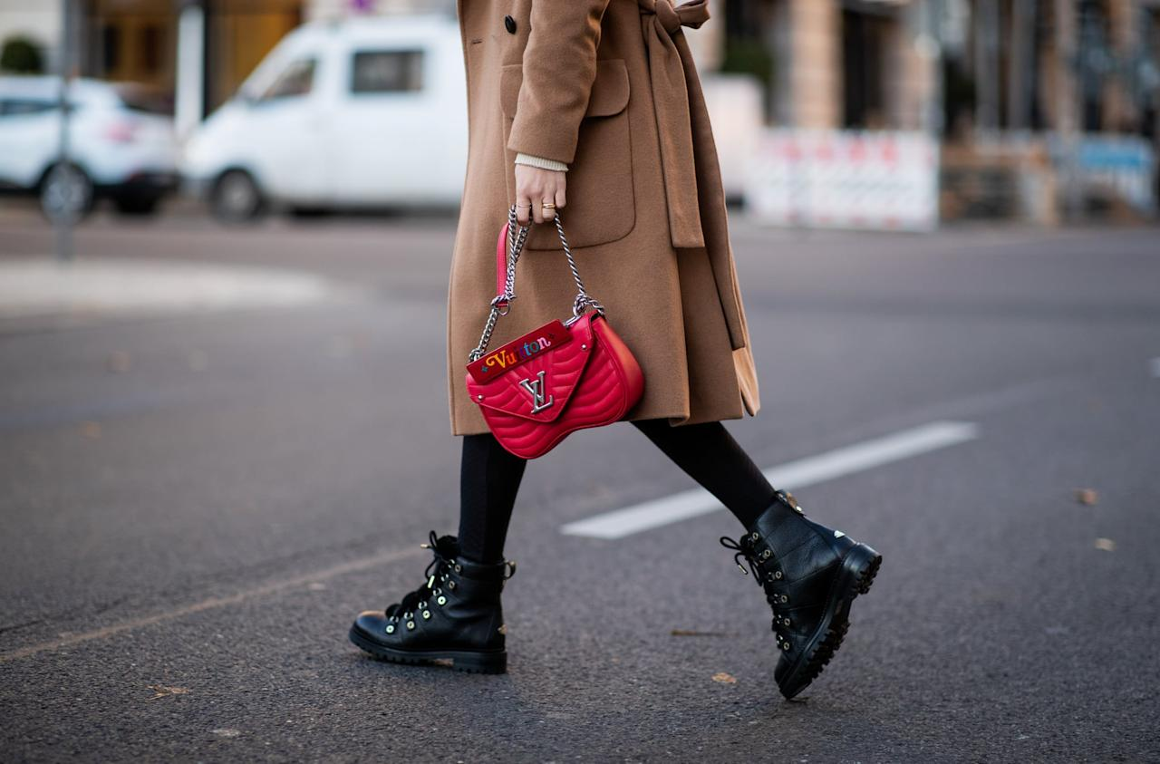 <p>Wear them with a long camel coat, black tights, and a red handbag.</p>