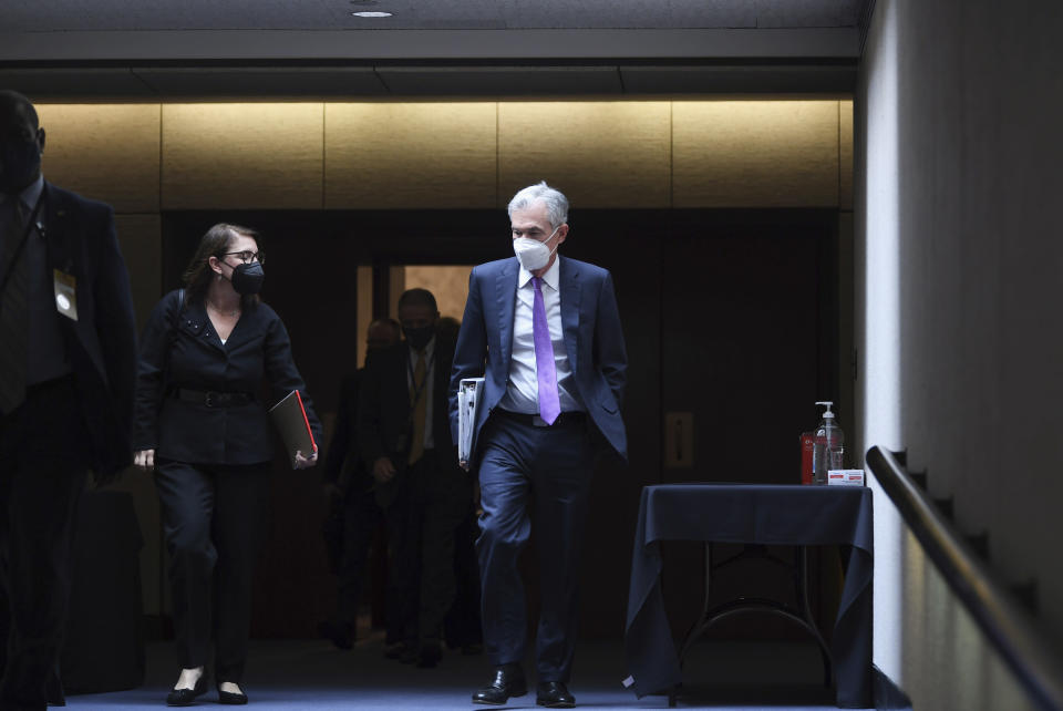Federal Reserve Chairman Jerome Powell leaves after testifying before a Senate Banking, Housing and Urban Affairs Committee hearing on the CARES Act on Capitol Hill, Tuesday, Sept. 28, 2021 in Washington. (Matt McClain/The Washington Post via AP, Pool)