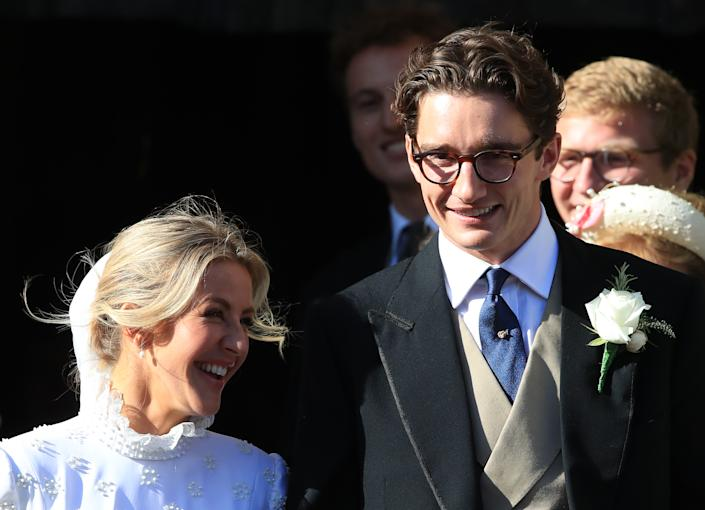 Newly married Ellie Goulding and Caspar Jopling leave York Minster after their wedding. (Photo by Peter Byrne/PA Images via Getty Images)
