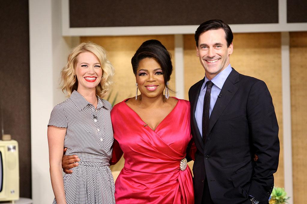 """Oprah hosts the cast of <a href=""""/mad-men/show/39828"""">""""Mad Men""""</a> during her trip back to the '60s on a special episode of <a href=""""/oprah-winfrey-show/show/32704"""">""""The Oprah Winfrey Show""""</a> on September 21, 2009."""