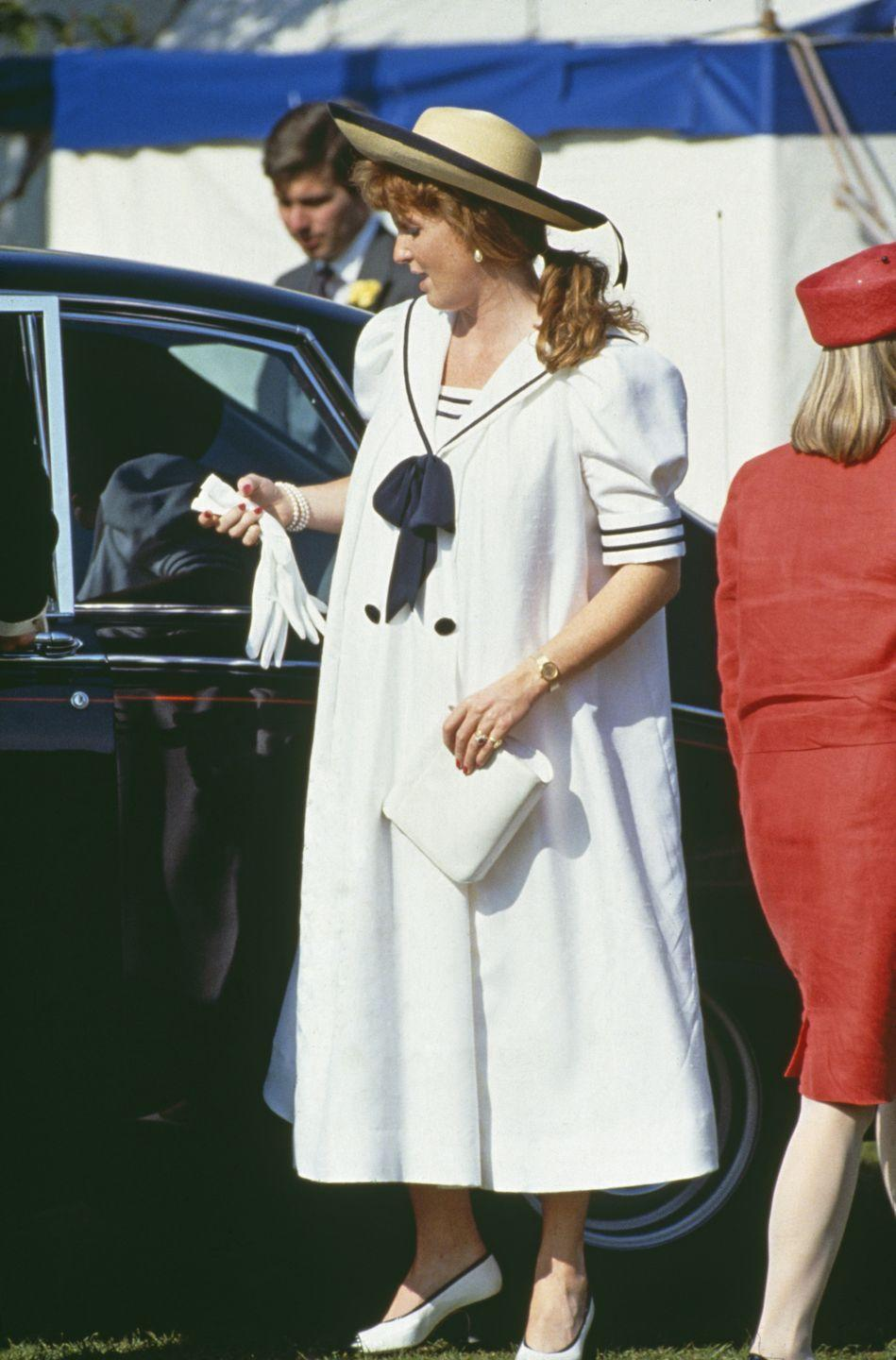 """<p>During her first pregnancy, the Duchess of York must have taken style cues from sister-in-law Princess Diana (who loved <a href=""""https://www.townandcountrymag.com/society/tradition/g35586267/princess-diana-sailor-dress-fashion-photos/"""" rel=""""nofollow noopener"""" target=""""_blank"""" data-ylk=""""slk:nautical-inspired fashion"""" class=""""link rapid-noclick-resp"""">nautical-inspired fashion</a>). </p>"""