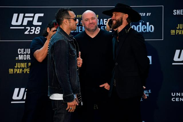 Tony Ferguson and Donald Cerrone face off for the media during the UFC 238 Ultimate Media Day at the United Center on June 6, 2019 in Chicago, Illinois. (Getty Images)