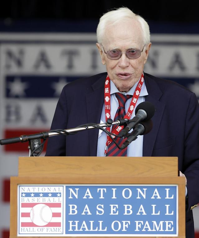 """In a Saturday, July 27, 2013 file photo, Dr. Frank Jobe, known for the development of the historic elbow procedure known as """"Tommy John Surgery,"""" speaks as he is honored during a ceremony at Doubleday Field in Cooperstown, N.Y. Jobe, a pioneer in the field of sports medicine, died Thursday, Feb. 6, 2014 in Santa Monica after being hospitalized recently with an undisclosed illness, according to a spokesman for the Los Angeles Dodgers. He was 88"""