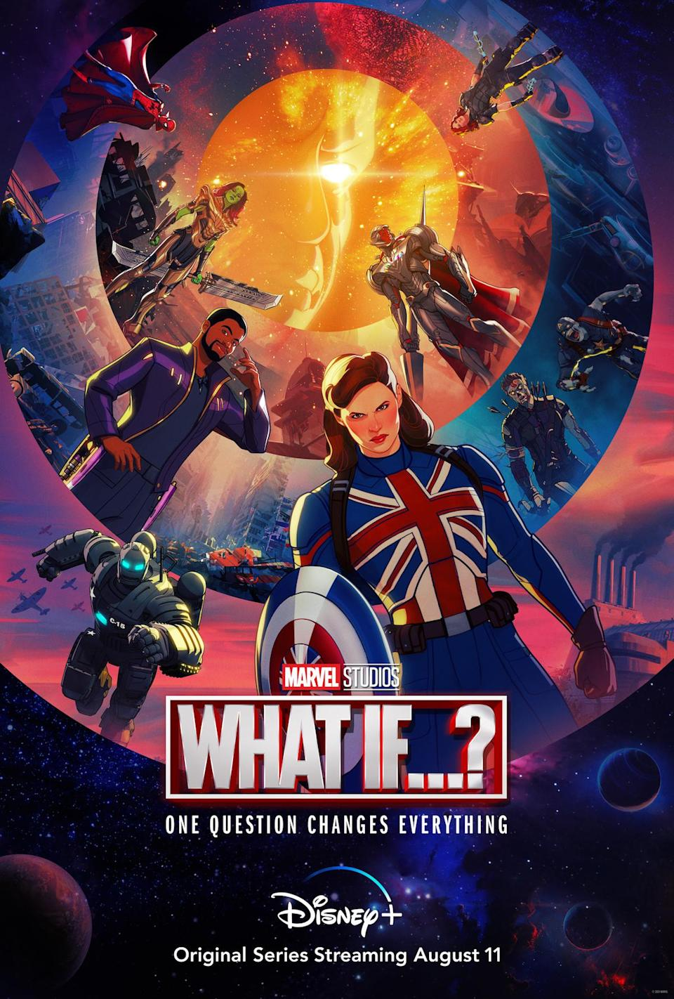 A collection of animated superheroes crowd Marvel's What If...? poster.