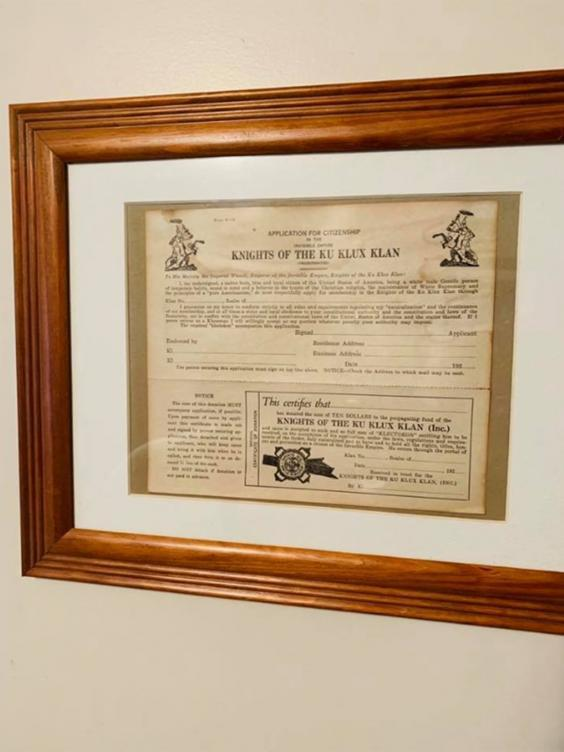 Anderson hung the framed KKK application in his bedroom (Rob Mathis/Facebook)