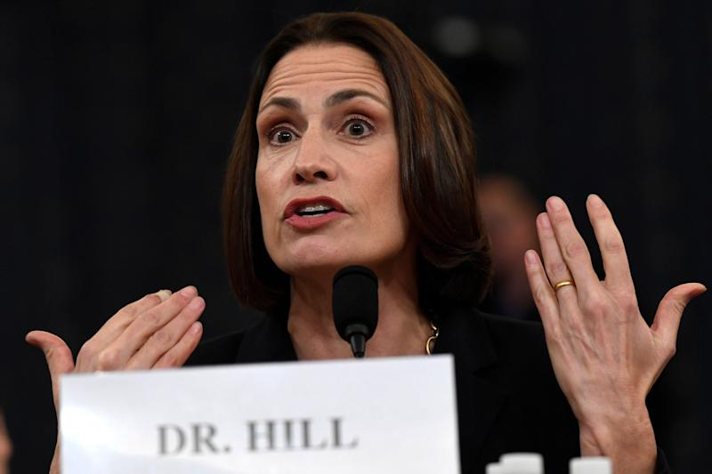 Fiona Hill appearing at the public impeachment hearings into Donald Trump: AP