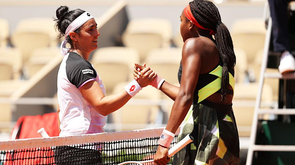 Ons Jabeur and Coco Gauff, pictured here shaking hands after their French Open clash.