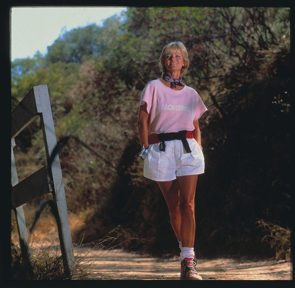 <p>Model Cheryl Tiegs puts on a pair of billowing shorts as she hits the trails. Tiegs rose to fame as a '70s supermodel. </p>
