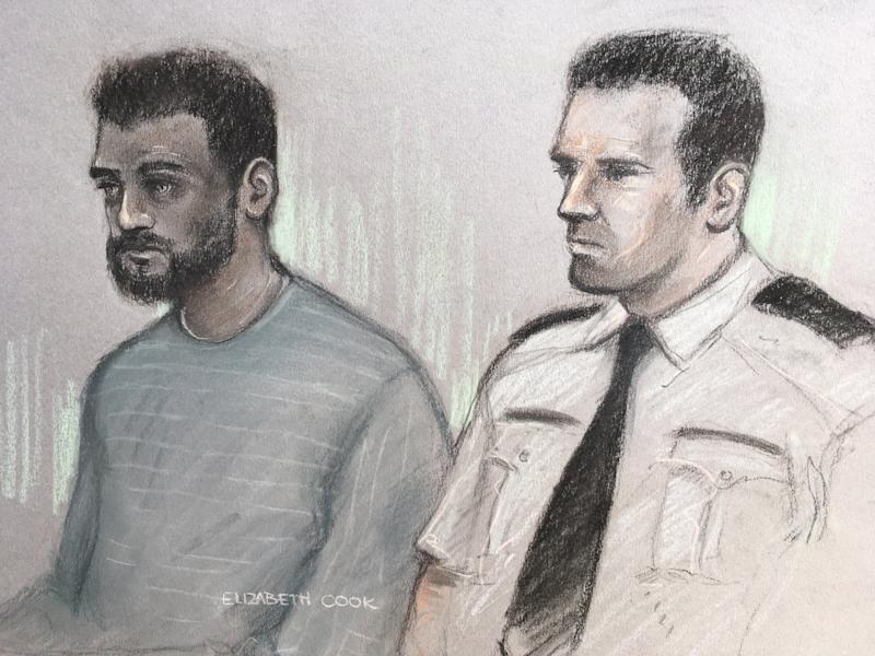 Court artist sketch of Jalal Uddin at the Old Bailey, London. (PA)