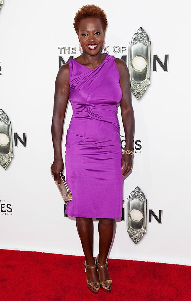 Academy Award-nominee Viola Davis stood out thanks to her bright purple Etro frock and Alexander Birman heels. (9/12/2012)<br><br><br>