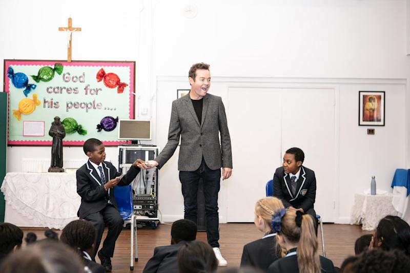 Stephen Mulhern at St Francis' Catholic primary school in Stratford (Virgin Media)