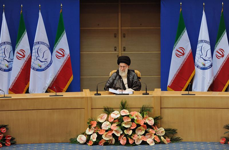 In this photo released by the official website of the Iranian supreme leader's office, supreme leader Ayatollah Ali Khamenei, gives a speech, at the opening session of Nonaligned Movement, NAM, summit, in Tehran, Iran, on Thursday, Aug. 30, 2012. (AP Photo/Office of the Supreme Leader)