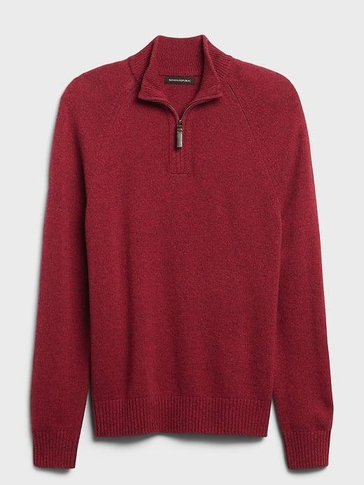 <p>This <span>Banana Republic Italian Wool-Blend Half-Zip Sweater</span> ($109) is a classic and we love it in this rich holiday cranberry!</p>