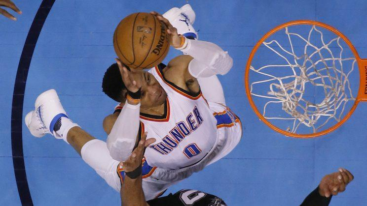 Russell Westbrook always attacks. (AP)