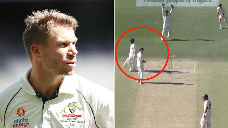 Seen here, New Zealand wasted a DRS challenge on a ball that hit David Warner's shoulder.