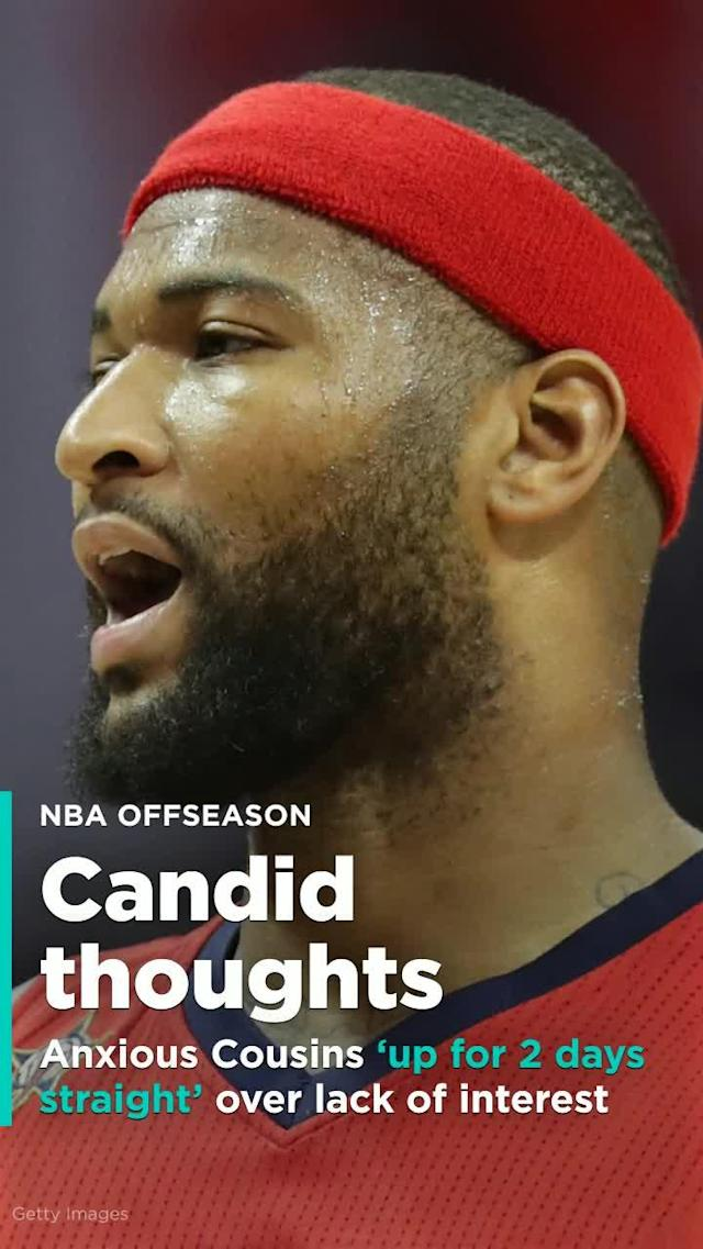 "DeMarcus Cousins says he was ""f – – – – d up"" about being rejected by NBA teams at the start of free agency and didn't sleep for two days before realizing the deal to join the Golden State Warriors."