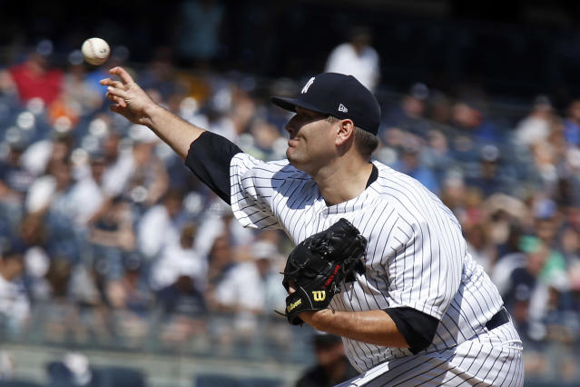 New York Yankees starting pitcher Lance Lynn delivers a pitch during the first inning of a baseball game against the Toronto Blue Jays on Sunday, Sept. 16, 2018, in New York. (AP Photo/Adam Hunger)