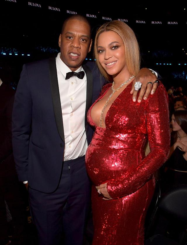 Jay-Z and Beyoncé at the 59th Grammy Awards. (Photo: Lester Cohen/Getty Images for NARAS)