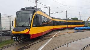 The first BOMBARDIER FLEXITY tram on its way to Karlsruhe